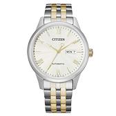 CITIZEN Mechanical時尚機械日期腕錶-銀X金
