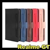 【萌萌噠】Realme GT 復古皮紋 多卡槽側翻皮套 可磁扣支架 全包軟殼 手機殼 手機套