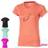 ASICS 亞瑟士 女慢跑印花T恤(粉橘)  休閒衣 慢跑 路跑