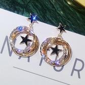 歡慶中華隊耳環925銀針會動的星星耳環多層閃鑽金屬圓圈耳釘韓版氣質耳墜耳飾品