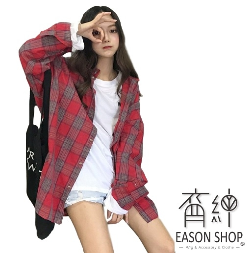 EASON SHOP(GW3289)韓版復古撞色格紋薄款長版OVERSIZE前排釦長袖襯衫外套罩衫女上衣服寬鬆防曬衫