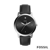 FOSSIL MINIMALIST 黑色皮革極簡風格男錶 44mm FS5497