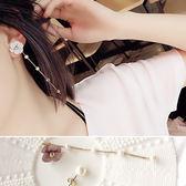 耳環立體花朵珍珠不對稱萌甜美耳環~DD1705020 ~BOBI 06 29