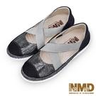 氣墊涼鞋 氣質瑪莉珍交叉款磁石真皮厚底球囊氣墊涼鞋-MIT手工鞋(銀河黑) Normady 諾曼地