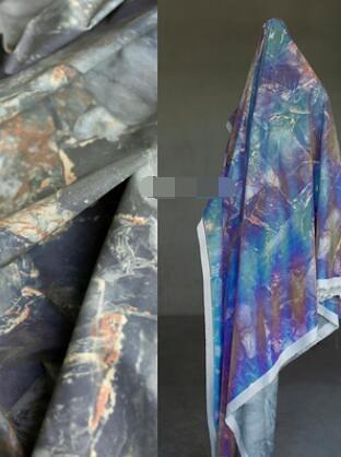 大理石紋反光布—復古圖案印花