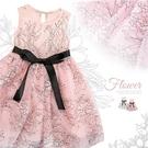 終極仙女光-唯美華麗花繪邊綁帶網紗洋裝小...