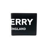 【台中米蘭站】 全新品 BURBERRY 滑面牛皮 PRINT 字母八卡短夾 (8008887-黑)