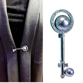 新年禮物天然珍珠鑰匙胸針女日韓圍巾別針皮草大衣配飾開衫披肩扣