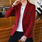 雙12盛宴 西裝男士外套秋季青年韓版學生帥氣單上衣紅色小西裝男休閒西服潮