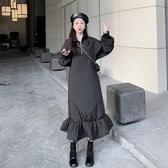 長袖洋裝 秋冬時尚拉鏈立領寬松荷葉邊加棉中長款魚尾裙女韓版長袖洋裝