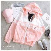 Catworld 潮感文字防風連帽運動外套【15003517】‧F/XL