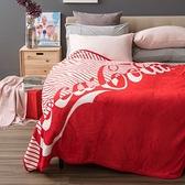 HOLA 可口可樂系列 防靜電法蘭絨毯 含帆布束口收納袋 Coca-Cola