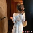 露背洋裝三亞海邊度假旅游衣服超仙沙灘裙子泰國拍照仙女裙露背白色連身裙 愛丫 免運