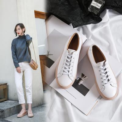 真皮休閒鞋 厚底 耐磨 小白鞋 板鞋/3色-標準碼-夢想家-0706