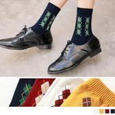 《ZB0485》韓國休閒菱形格紋學院襪 OrangeBear