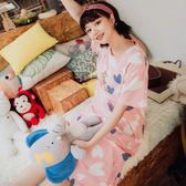 【現貨】韓版可愛維尼小豬休閒甜美全棉短袖睡衣 居家服 洋裝 S57092