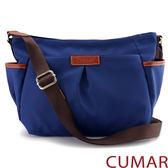 【CUMAR女包】輕量防潑水尼龍多口袋斜背包-藍