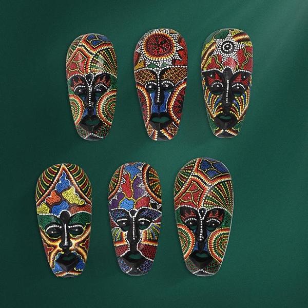 實木手繪面具墻壁掛件裝飾東南亞客廳臉譜東巴面具壁飾泰國工藝品