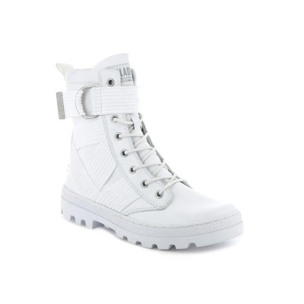 【南紡購物中心】【PALLADIUM】PALLABOSSE TACT ST LEATHER 皮革高筒靴 / 白 女鞋