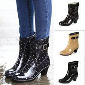 秋冬新款雨鞋女防水高跟雨靴防滑玻跟水靴中筒時尚水鞋可加絨  居家物語