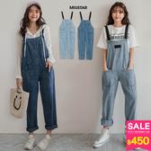 春裝上市-MIUSTAR多造型口袋可調式黑帶牛仔吊帶褲(共2色)【NH0193】預購