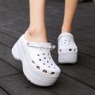 洞洞鞋 鬆糕洞洞鞋女夏韓版兩穿涼拖鞋增高厚底坡跟鞋防滑包頭鳥巢沙灘鞋