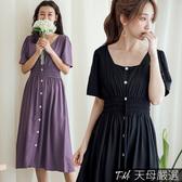 【天母嚴選】氣質方領縮腰排釦雪紡連身洋裝(共二色)