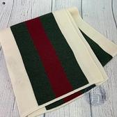 BRAND楓月 GUCCI 古馳 經典 綠紅綠 米白色 70%羊毛 30%絲 圍巾 冬季穿搭 保暖 配件