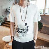 中國風棉麻t恤男裝中式短袖麻料印花中袖上衣大碼亞麻T恤夏季寬鬆【PINKQ】