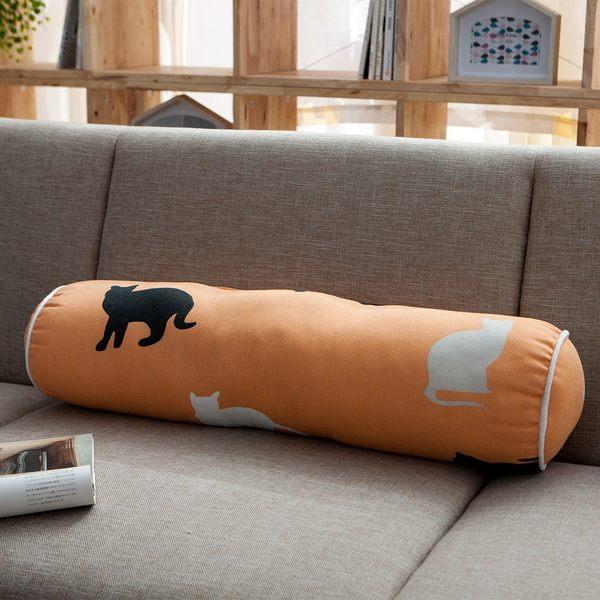 優雅貓圓柱抱枕-生活工場