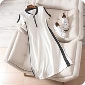洋裝-短袖側邊撞色條紋純棉連身裙2色73sz15【時尚巴黎】