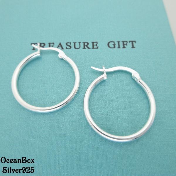 §海洋盒子§2.3cm。時尚亮面U型曲線造型針式易扣925純銀耳環《925純銀耳環》