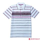 夏季男士短袖POLO衫 夢特嬌白色簡約條紋吸濕排汗_紫條紋