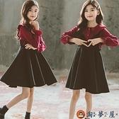 女童背帶裙秋裝套裝中大童娃娃領襯衫兒童兩件套秋冬【淘夢屋】