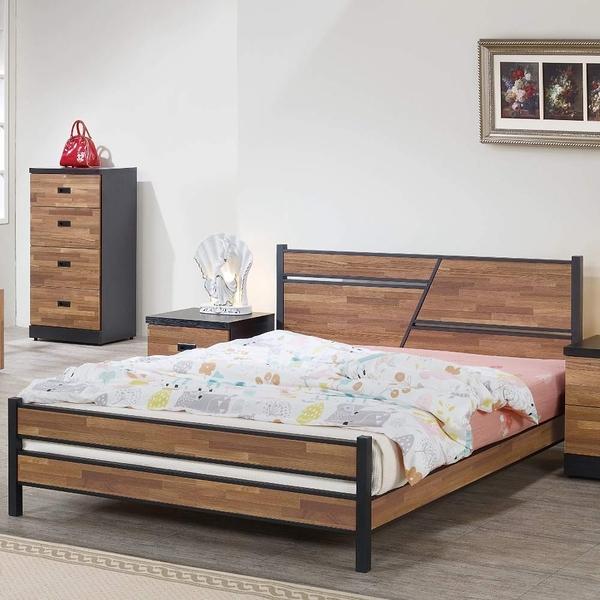 【采桔家居】多馬克 木紋5尺床片型雙人床台(不含床墊&床頭櫃)