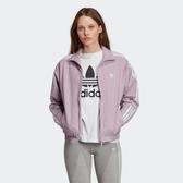ISNEAKERS adidas 愛迪達 紫色 藕色 臂章 三條線 口袋拉鍊 立領外套 ED7541