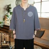 亞麻短袖男T恤夏季中國風V領復古刺繡五分袖潮流寬鬆棉麻半袖衣服 藍嵐