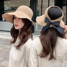 草帽子女夏天韓版防曬空頂卷卷遮陽帽沙灘百搭遮臉太陽帽