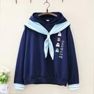 *ORead*印花甜美海軍風披肩圍巾薄款長袖衛衣(3色M,L)
