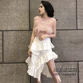 蕾絲拼接針織背心 荷葉邊半身裙兩件套時尚套裝女裝 萬聖節服飾九折