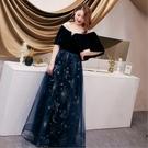 大尺碼禮服 3XL-6XL 可訂做蕾絲網紗晚宴小禮服一字領氣質優雅 #mw032101 @卡樂@