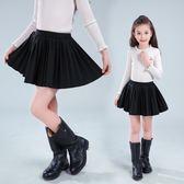 618好康鉅惠 兒童短裙童裝百褶裙  黑色