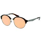 原廠公司貨-【Ray Ban 雷朋】RB3564D-041/2Y 雷朋復古圓框太陽眼鏡(琥珀框/水銀粉鏡面)