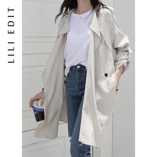 風衣外套 LILI EDIT/薄款收腰風衣外套女秋季2020新款寬鬆韓版小個子中長款【BNYD】