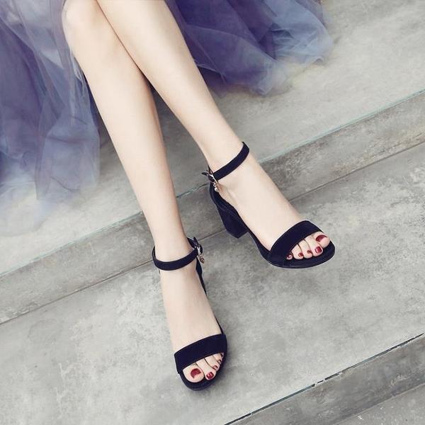 粗跟一字帶涼鞋女新款仙女風中跟百搭小ck配裙子少女高跟鞋夏