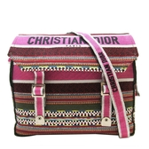 Dior迪奧 桃紅色拚多色經典 Oblique 斜紋織刺繡帆布Diorcamp肩背斜背郵差袋 BRAND OFF