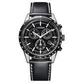 【台南 時代鐘錶 CITIZEN】星辰 限量 光動能萬年曆 三眼計時腕錶 BL5496-11E 黑 39.5mm