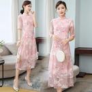 越南旗袍洋裝 民族風刺繡改良版日常款奧黛女中長款年輕款旗袍中國風連身裙夏裝