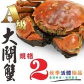 ㊣盅龐水產 ◇A級大閘蟹(規格2) ◇一組六隻◇平均$336元/隻◇細嫩鮮甜 蟹膏蟹黃 秋蟹