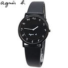 【萬年鐘錶】agnes b. 法式簡約時尚風 腕錶 白字 黑錶面 皮帶  33mm  7N00-0BC0D(BG4002P1)